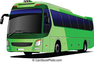 természetjáró, vektor, zöld, il, bus., coach.