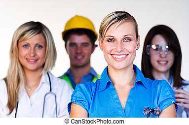 természettudós, orvos, multi-profession, -, konstruál, üzletasszony, mosolygós, fényképezőgép