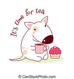 terriers, torta, bika, tea, csinos, csésze