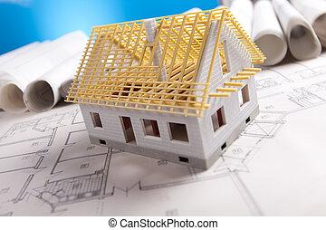 terv, eszközök, építészet, &