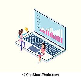 terv, implementing, laptop, táblázatok, ügy