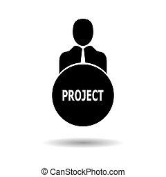 terv, lakás, személy, background.vector, icon., elszigetelt, szöveg, fehér, ügy