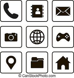 tervezés, állhatatos, ikon, vektor, jelkép, website