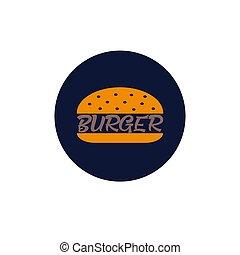 tervezés, élelmiszer, ábra, burger, vektor