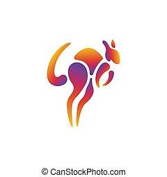 tervezés, érint, kenguru, sablon, színes, dinamikus, gradiens, móka, modern, jel