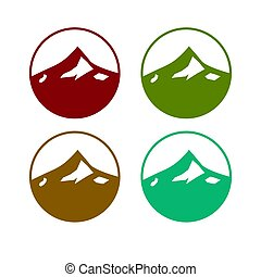 tervezés, artwork, 4, színes, különféle, befest, hegyek