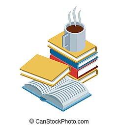 tervezés, bögre, előjegyez, elméleti, színes, kávécserje