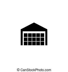 tervezés, egyszerű, ikon, jelkép, raktárépület