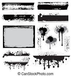 tervezés elem, grunge, tinta