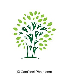 tervezés, elvont, eco, ikon, természet, vektor, alapismeretek, közösség, jel, emberek, jelkép, fa