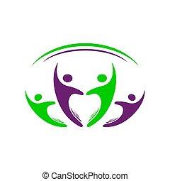 tervezés, emberek, négy, vektor, csoport, 4, jelkép, közösség, színes, sablon, jel, aláír, személy