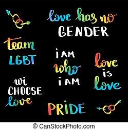 tervezés, emblem., poster., többszínű, nyomtat, vektor, büszkeség, belélegzési, szlogen, fogalom, buzi, homoszexualitás, lgbt, movement., kéz, béke, helyrehoz, lettering., lobogó, írott