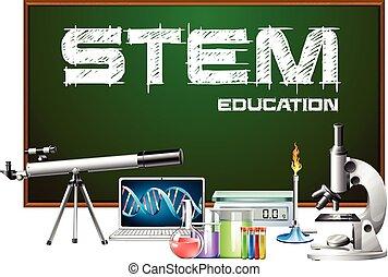 tervezés, equipments, tudomány, poszter, szár, oktatás