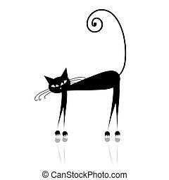 tervezés, fekete, árnykép, -e, macska
