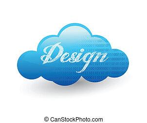 tervezés, felhő, ábra