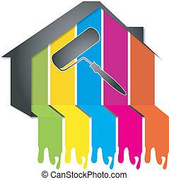 tervezés, festmény, épület