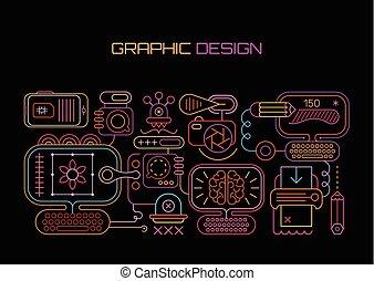tervezés, grafikus, neon