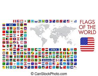 tervezés, hivatalos, minden, világ, vektor, derékszögben, zászlók, nemzeti