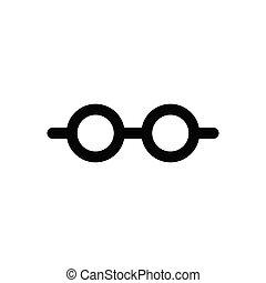 tervezés, ikon, elszigetelt, áttekintés, szemüveg, fehér, vektor, háttér.