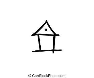 tervezés, inspirations., jelkép, minimalista, jel, otthon, ikon, sablon