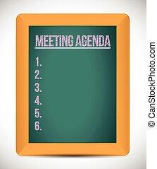 tervezés, lista, napirend, ábra, gyűlés