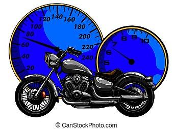 tervezés, motorbike., vektor, karikatúra, ábra, művészet