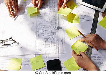 tervezés, munka, építész