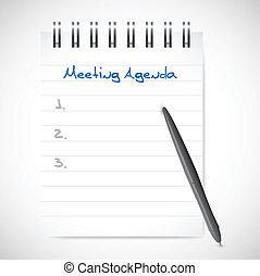 tervezés, notepad, napirend, ábra, gyűlés