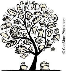 tervezés, pékség, fogalom, fa, -e