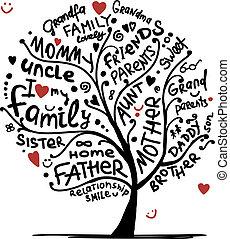 tervezés, skicc, fa, -e, család