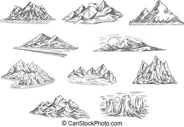 tervezés, skicc, természet, parkosít, hegy