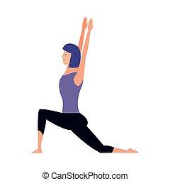 tervezés, színes, gyakorló, nő, yoga helyzet
