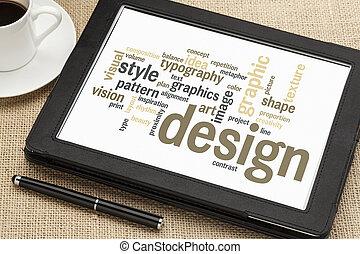 tervezés, szó, felhő, grafikus