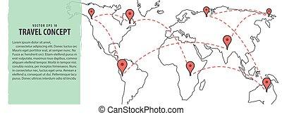 tervezés, térkép, &, utazás, ábra, háttér., vektor, elhelyezés, világ, transzparens, concept.
