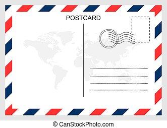 tervezés, utazás, levelezőlap, kártya, elszigetelt, háttér., tiszta, modern, grafikus