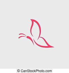 tervezés, vektor, ikon, lepke, jel, jelkép