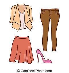 tervezés, women's ruházat, illeszt