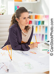 tervező, figyelmes, mód, hivatal