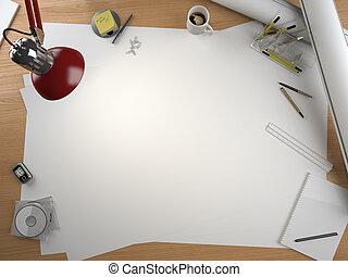 tervező, hely, alapismeretek, asztal, másol, rajz