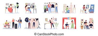 tervező, művész, kreatív, set., munka, foglalkozás, táncos