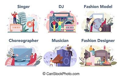 tervező, táncos, foglalkozás, munka, kreatív, mód, set., dj