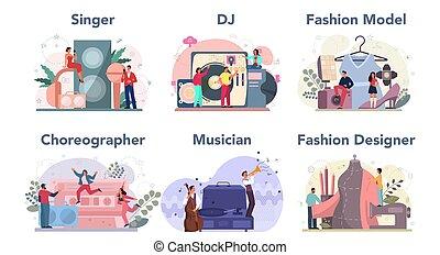 tervező, táncos, set., dj, kreatív, munka, foglalkozás, mód