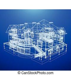 tervrajz, épület, építészet