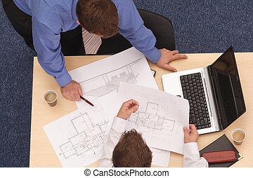 tervrajz, két, építész, bírálat