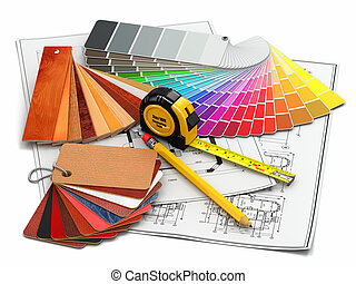 tervrajz, kellék, építészeti, belső, eszközök, design.