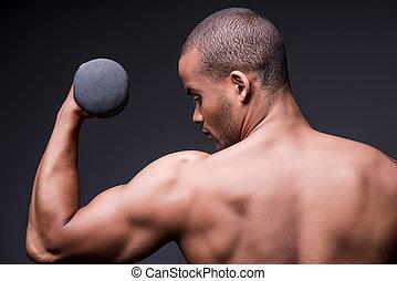 test, álló, övé, shirtless, kilátás, szürke, ellen, fiatal, időz, fenék, háttér, afrikai, gyártás, félcédulás, gyakorlás, strong., ember