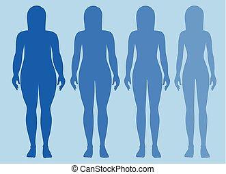 test, csontos, elhízott, női