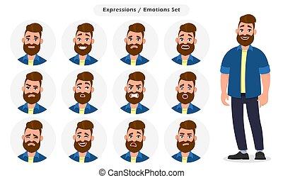 test, ember, különböző, állhatatos, arcápolás, nyelv, betű, ábra, karikatúra, expressions., fogalom, vektor, érzelmek, emotions., hím, style., emoji