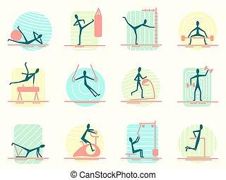 test, emberek., különböző, állhatatos, atlétikai, ikonok, tréning, képzés, épület, felszerelés, személy, ünnepély, gyártás, activity., sport, tornaterem