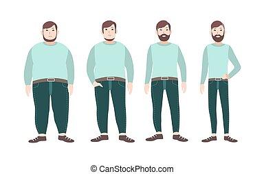 test, megjelenítés, fogalom, slim., súly, táplálás, egészséges, betű, diéta, hím, kövér, sports., vektor, át, kár, átalakuló, előad, karikatúra, illustration.